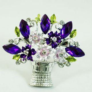 Vase Silver Plated Leaf Gemstone Zircon Brooch Pins Jewelry