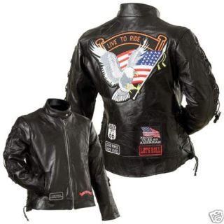 Ladies Rock Design Genuine Buffalo Leather Motorcycle New With Tags