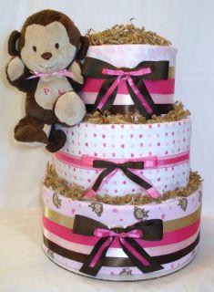 3 Tier Baby Girl Monkey Diaper Cake Centerpiece