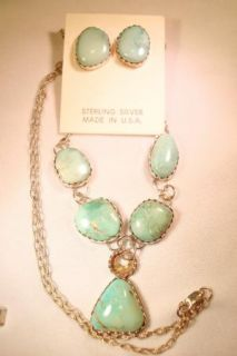 Sterling Silver Carico Lake Turquoise Handmade Artisan Signed Necklace
