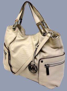 MICHAEL KORS Croc Embossed Leather Brookton E/W Tote Shoulder Bag $478