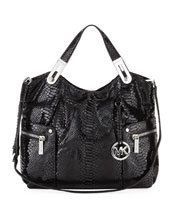 MICHAEL KORS BROOKTON LG LEATHER E W TOTE Bag Handbag Satchel BLACK