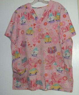 Herbie The Love Bug Fully Loaded Scrub Top Size Large