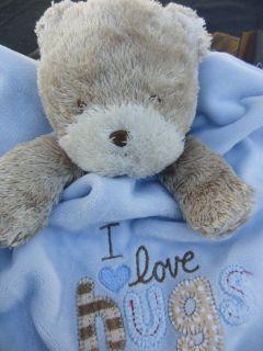Brown Bear I love hugs Baby Security Blanket Blankie Banky Carters