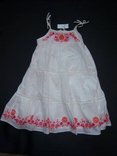 New Baby Gap Embroidered Tiered Tank Dress 5 5T
