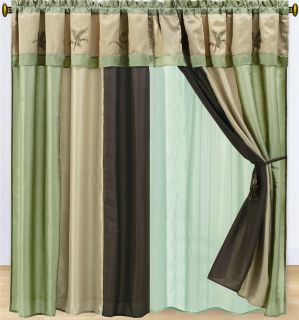 Hawaii Embroidery Brown Green Palm Tree Faux Silk Curtain Set