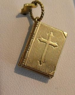 14K GOLD 3D OPENING BIBLE BOOK with LORDS PRAYER INSIDE CHARM PENDANT