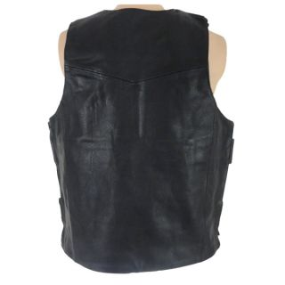Bullet Proof Black Leather Motorcycle Vest Replica w 2 Pockets XLarge