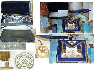 VINTAGE MASONIC CASE /SUSSEX MEDALLION +APRON+SASH/RE​GALIA BOSCAWEN