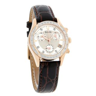Bulova Diamond Ladies Rose Gold Tone Brown Leather Band Quartz Watch