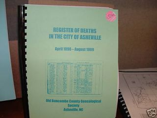 Buncombe County City of Asheville Register of Deaths