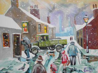 coal man street scene winter snow original painting Gordon Bruce art