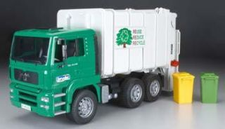 Bruder Toys America 1 16 Man Garbage Truck Green w Trash Bins BTA02764