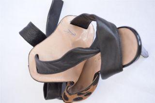 Bruno Frisoni Womens Black Leather Lace Up Animal Print Pony Sandal