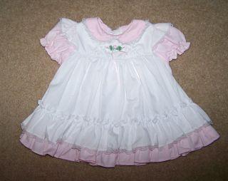 Bryan Baby Girls Pink White Dress Lace Trim Ruffled Hem Short Sleeve 0