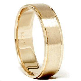 Mens 14k Yellow Gold Flat Brushed Polished Edge Wedding Ring Band