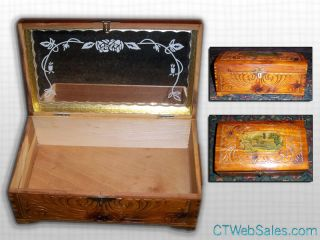 Carved Cedar Wood Jewelry Box with Mirror Inside