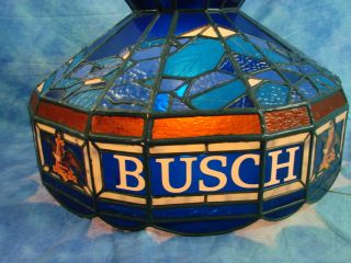 Vintage Busch Beer Pool Table Bar Pub Stained Glass Light Lamp Ceiling