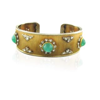 Buccellati 18K Gold Diamond Emerald Rigato Bracelet