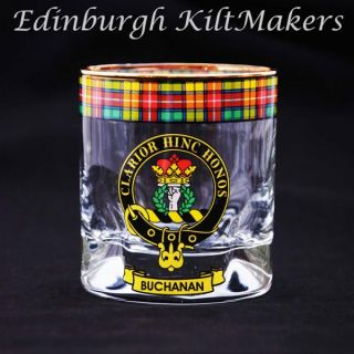 Davidson Clan Crested Whisky Glass Tartan Whisky Glasses