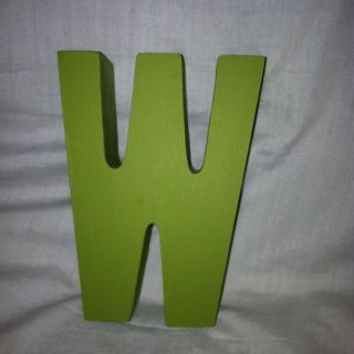 Wedding Centerpiece Monogram W 5 Wood Letters   10 Lime Green