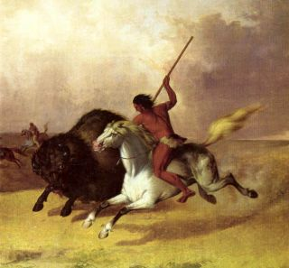 buffalo hunt indians prairies j stanley on canvas repro