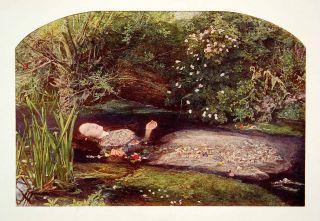 1923 Color Print Ophelia Everett Millais Shakespeare Hamlet Raphaelite