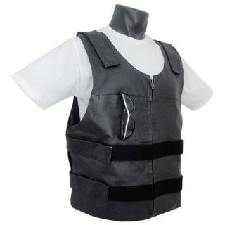 Mens Bullet Proof Style Cowhide Leather Motorcycle Vest jacket Size XS