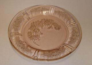 Depression Federal Glass Sharon Cabbage Rose Pink Salad Plates 3 Avail