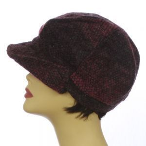 Knit Cabbie Bakersboy Hat Womens Fall Winter Button Flap Cap Fuschia