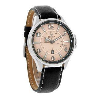 Bulova Adventurer Mens Copper Dial Black Leather Band Quartz Watch