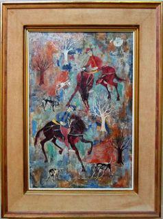 LUCIANO SPAZZALI Signed c. 1959 Original Oil Painting Caccia