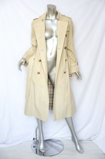 Burberry London Womens Beige Cotton Double Breasted Trench Coat Jacket