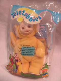 New Burger King 1999 Yellow La La Teletubbies Plush Clip on Toy