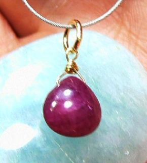 RARE Genuine Natural Untreated Burmese Ruby Heart Briolette 14k Gold