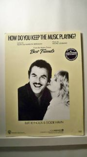 Burt Reynolds Goldie Hawn Movie Sheet Music 1982