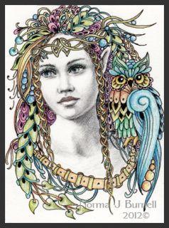 Original ACEO Sketch Card Fairy Owl Elf Fairies Owls Fairy Tangles by