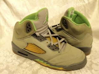 Nike AIR JORDAN Retro 5 V Green Bean/Gray Basketball Shoes Sz. 4 Youth