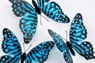 3D Blue Butterfly Garden Wall Decor Flowers Insect