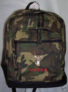 Deer Head Buck Backpack School Book Bag Personalized Camouflage New