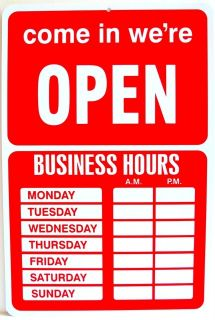 OPEN CLOSED RETAIL STORE BUSINESS HOURS SIGN NOTICE 9½ x 14