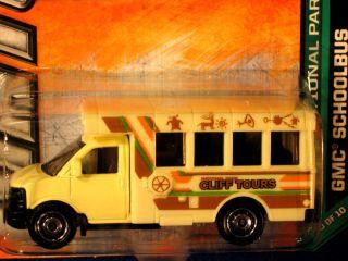 Matchbox 2012 GMC School Bus Pale Yellow Cliff Tours Logo