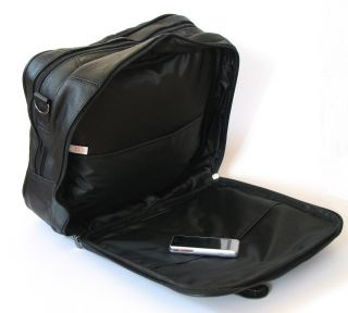 New Mens Quality Black Leather Business Bag Laptop Case Overnight