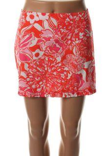 Lilly Pulitzer New Callie Orange Floral Print Ruffle Hem Mini Skirt 6