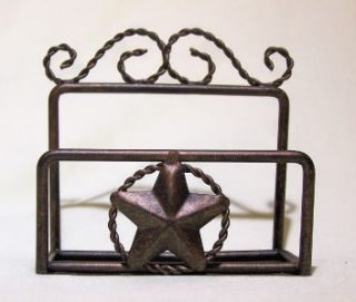 Star Rustic Business Card Desk Holder Metal Western