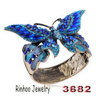 Butterfly Cuff Bracelet Bangle 4Colors Czech Rhinestone Crystal