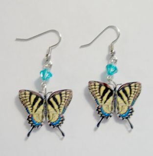 Tiger Swallowtail Butterfly Aqua Beads Dangle Earrings