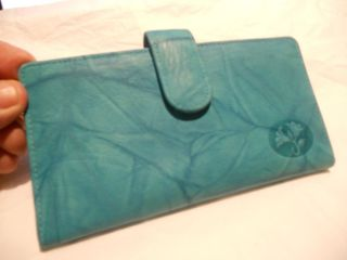 Buxton Turquoise Leather Checkbook Wallet