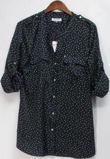 Calvin Klein Sz L Long Sleeve Button Down Shirt Top Dark Blue NEW