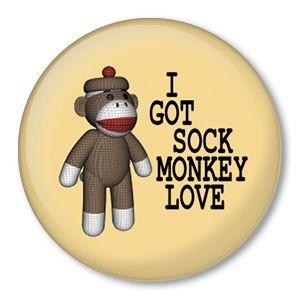 got Sock Monkey Love Pin Button Badge Flair Doll Fun